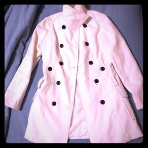 Large white coat with buttons